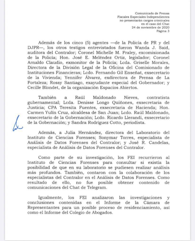 FEI - comunicado - no presentaran cargos contra Rossello - noviembre 24 2020
