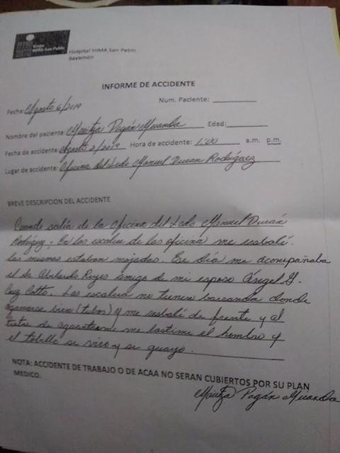 Maritza Pagán informe del accidente caída