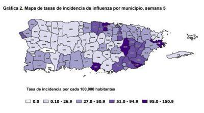 Influenza - mapa - Puerto Rico - Foto via Departamento de Salud - febrero 12 2020