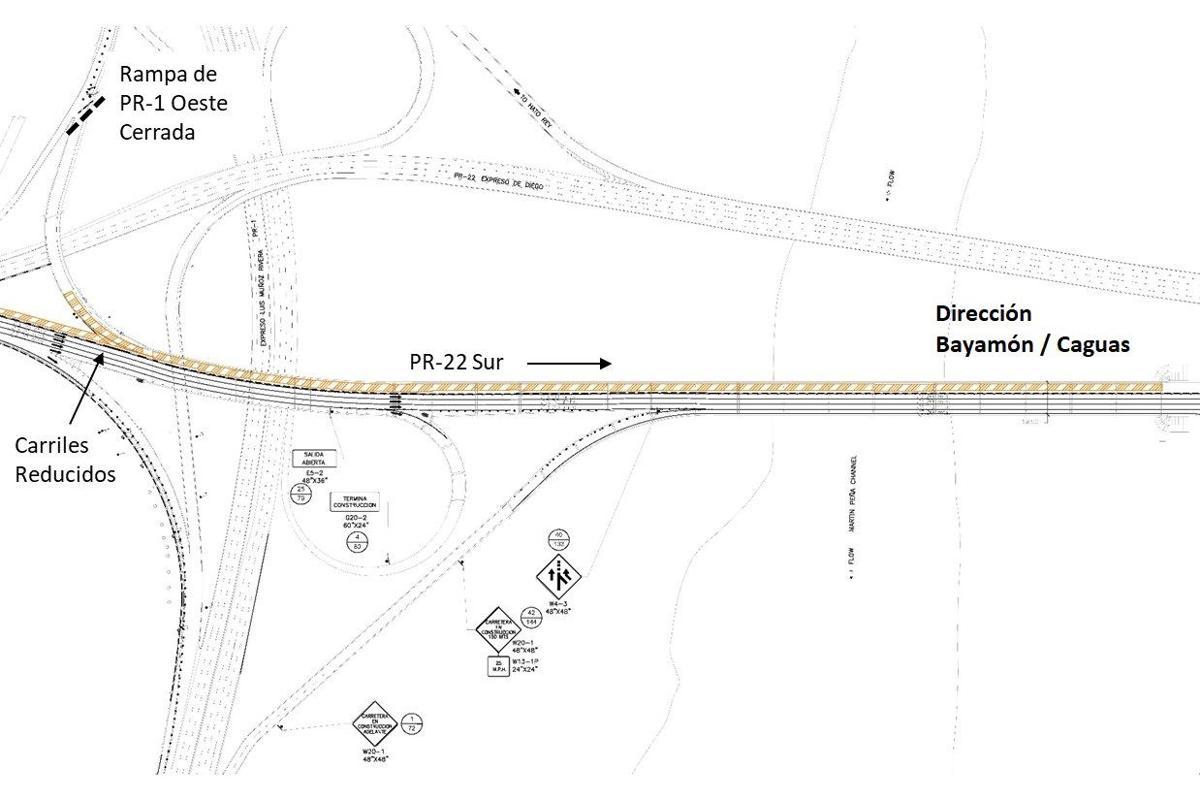 Mapa trabajos puente martin pena Metropistas