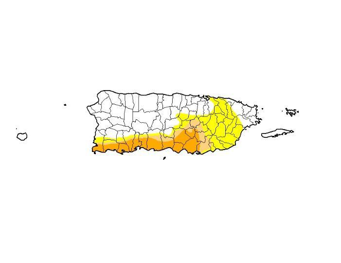 Mapa - sequia - Puerto Rico - agosto 15 2019