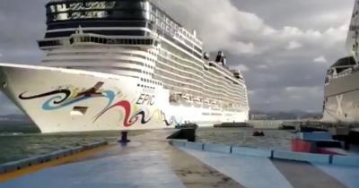 Crucero rompe muelle de San Juan - febrero 13 2019.