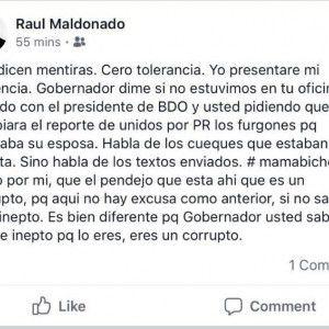 Post en facebook  del hijo de Raul Maldonado