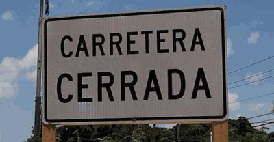 Carretera cerrada - letrero - Foto via Cybernews - junio 5 2020