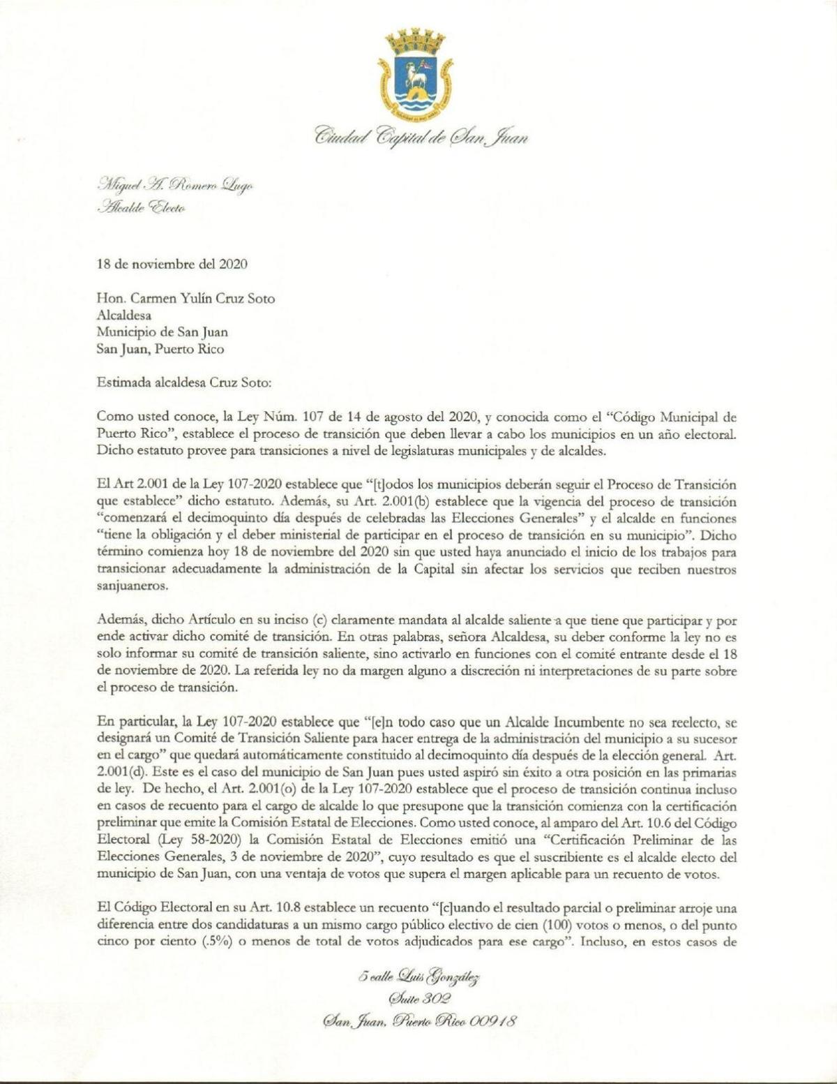 Carta de Romero a Yulín