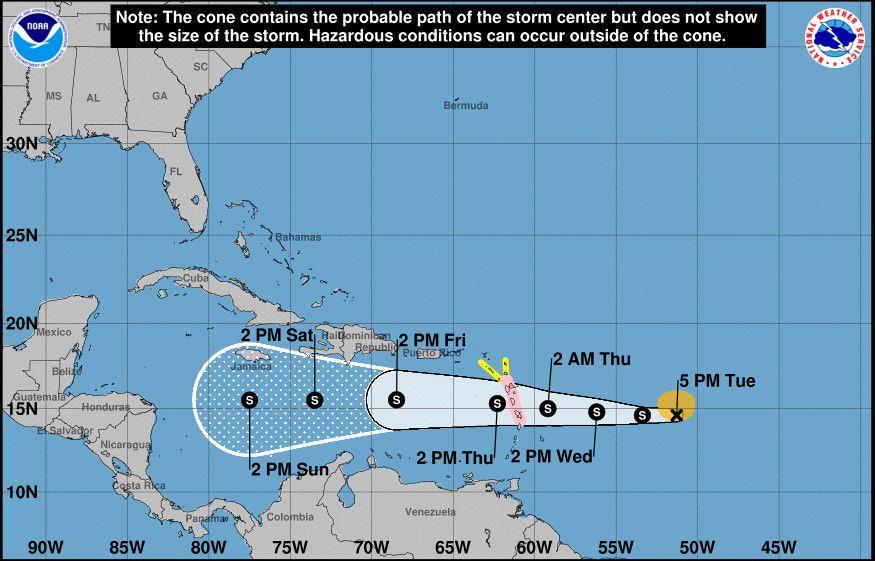 Isaac pierde fuerza y Puerto Rico se aleja más del cono de incertidumbre