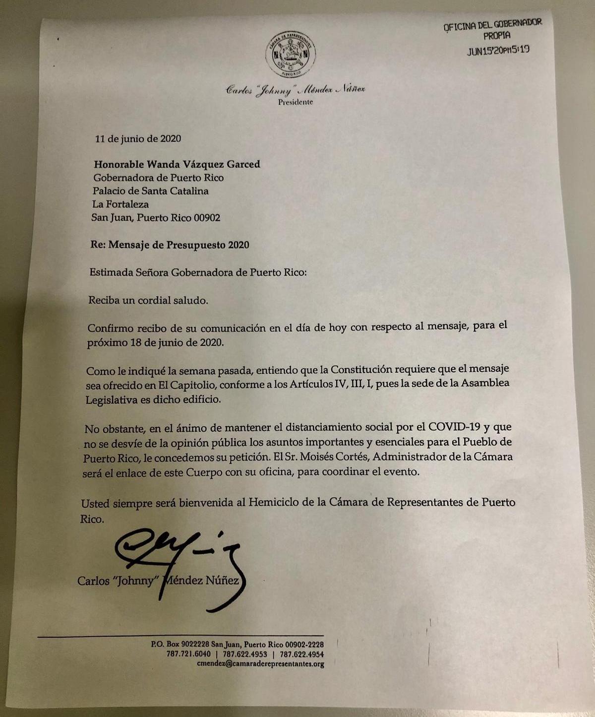 Johnny Mendez da luz verde a la gobernadora para dar su mensaje fuera del Capitolio - junio 18 2020