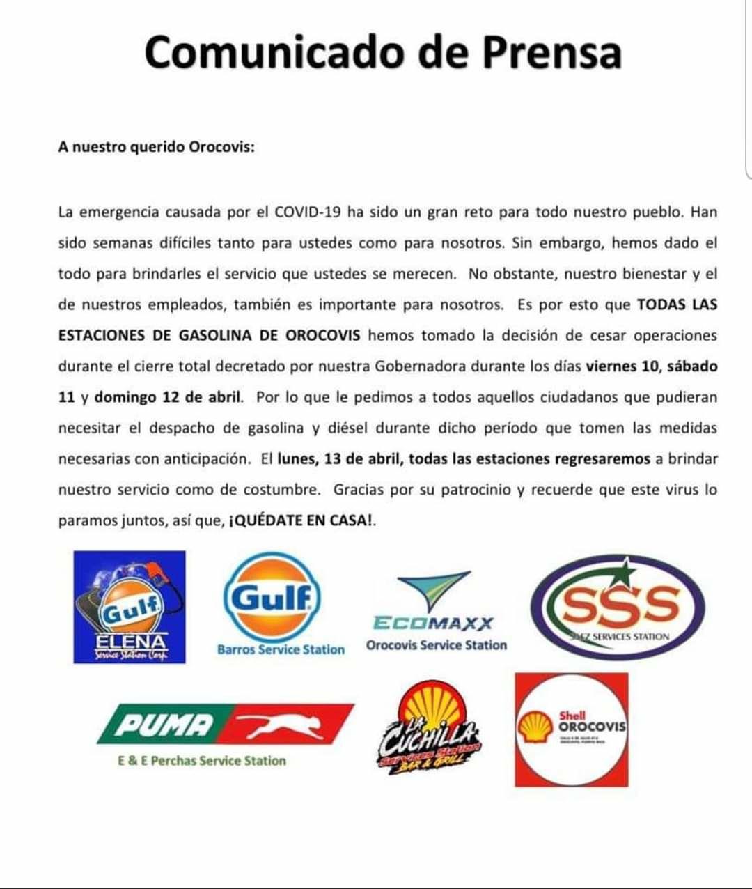 Gasolina - comunicado de prensa - cerrados - abril 7 2020