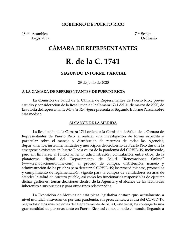 Comisión cameral de Salud radica informe con nuevos referidos por irregularidades en la compra de pruebas COVID-19