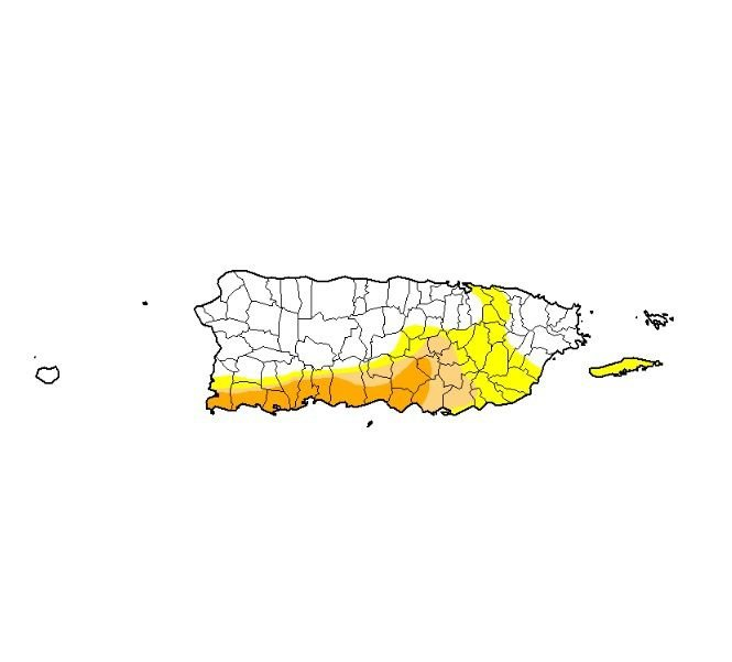 Mapa - sequia - Puerto Rico - agosto 8 2019