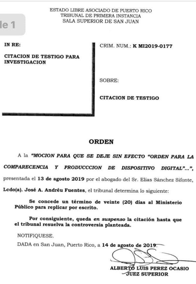 Orden Tribunal sobre celular de Elias Sanchez 14-8-19
