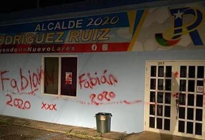 Lares - vandalismo - comite de campaña - Foto suministrada - octubre 25 2020