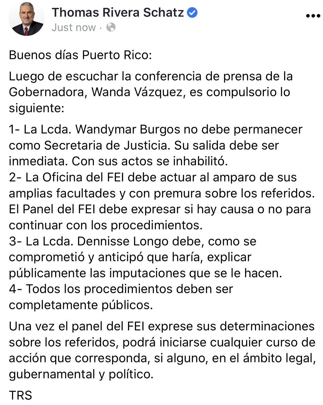 Thomas Rivera Schatz - pide salida de secretaria interina de Justicia - julio 7 2020
