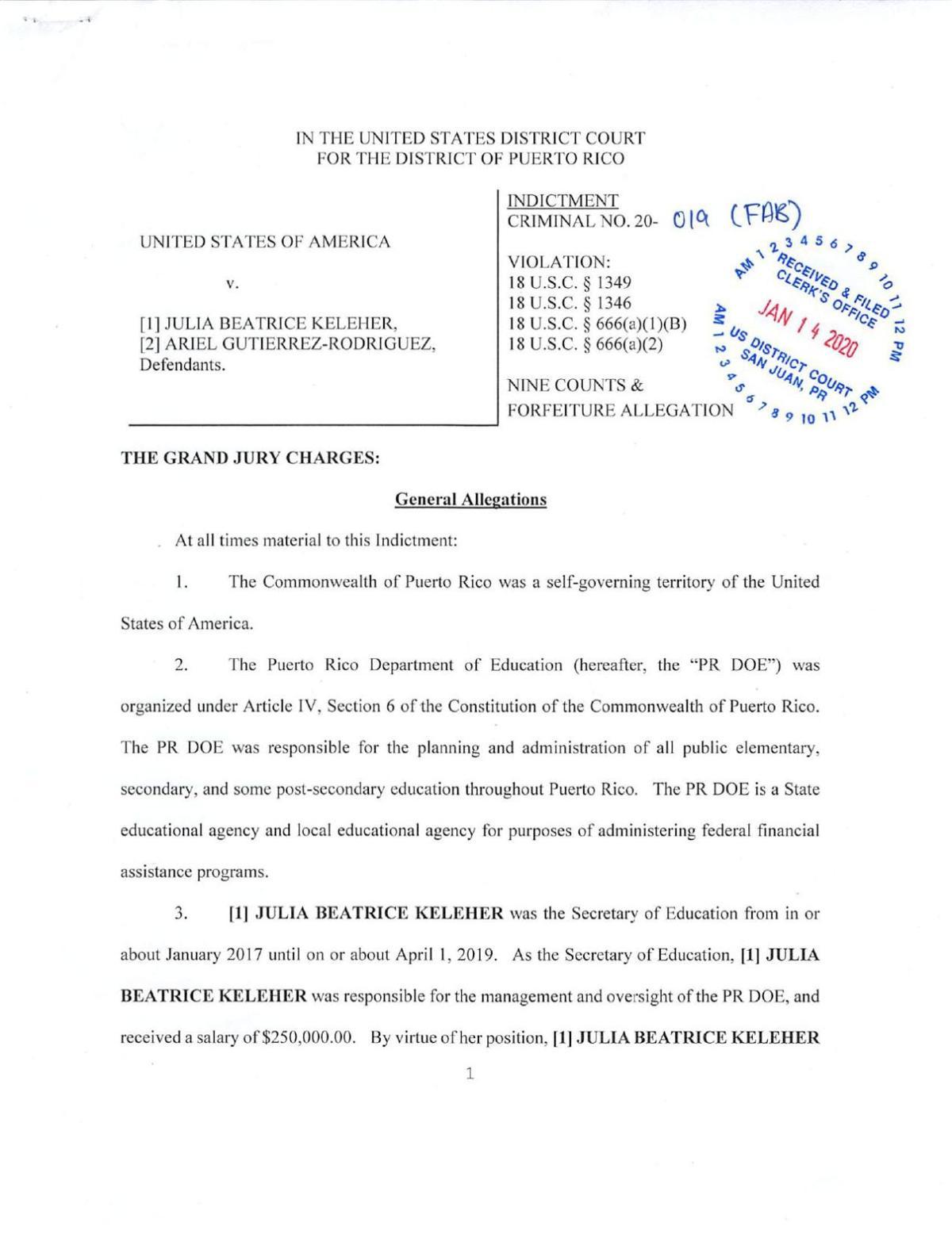 Acusacion federal a Julia Keleher