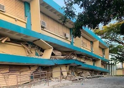 Escuela - Guanica - destruida por terremoto - Foto via Central Meteorologica y Geologica del Caribe - enero 10 2020