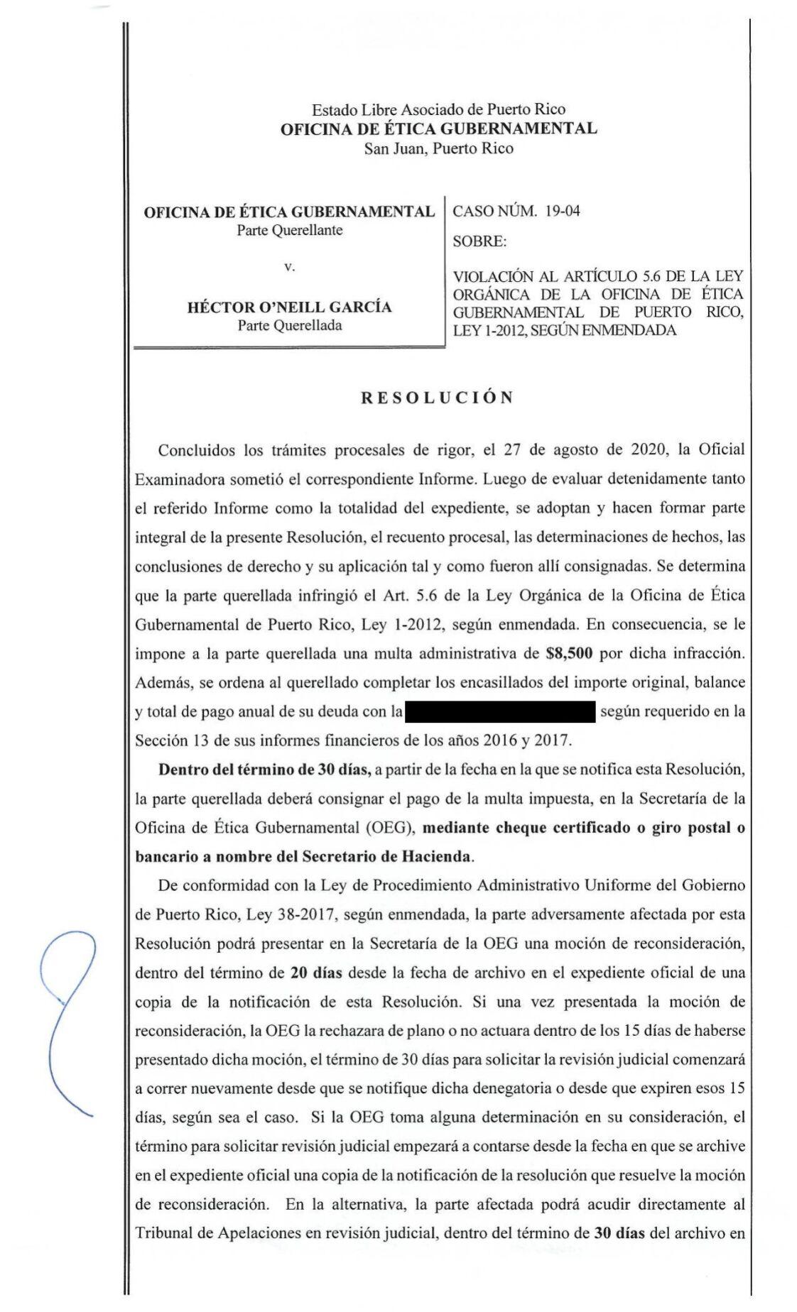 Multán a Héctor O'neil por no revelar sus informes financieros a la oficina de Ética