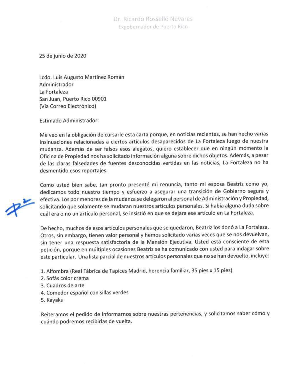 Carta - Rossello - Fortaleza - junio 26 2020