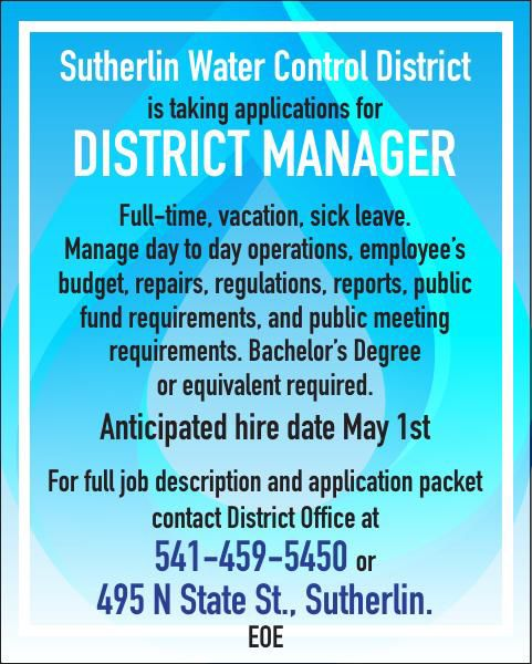 Sutherlin Water Control District Hiring