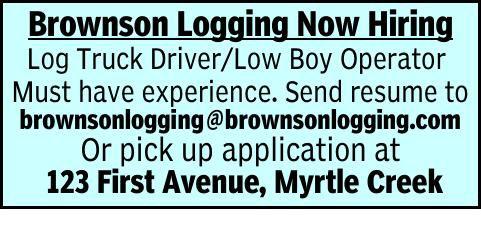 Brownson Logging Now Hiring