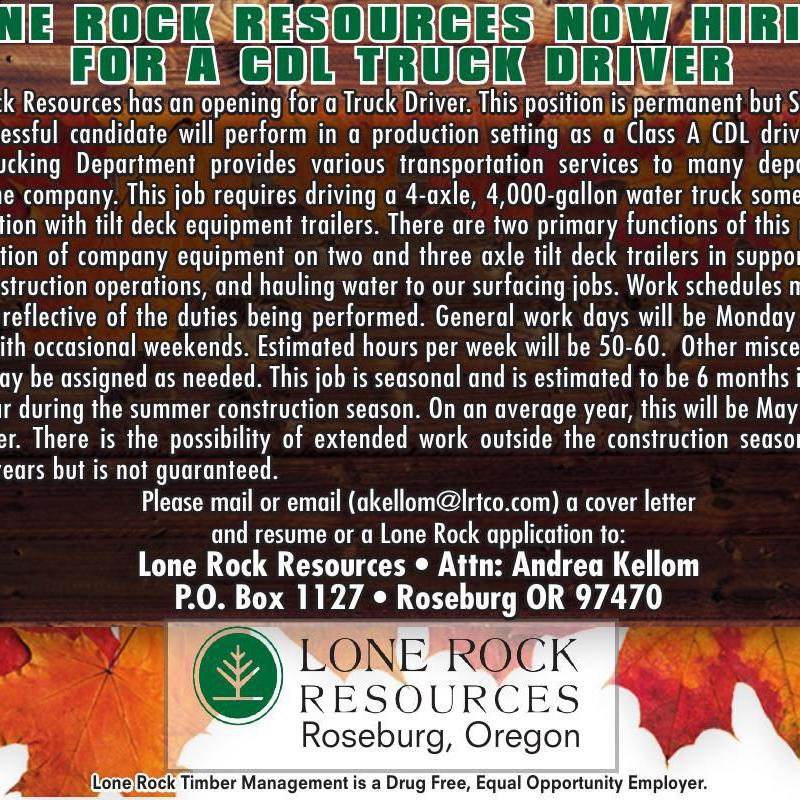 LONE ROCK RESOURCES NOW HIRING
