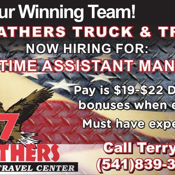 7 FEATHERS TRUCK & TRAVEL NOW HIRING FOR: FULL TIME ASSISTANT MANAGER