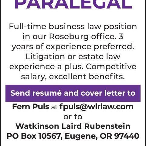 LEGAL ASSISTANT/ PARALEGAL