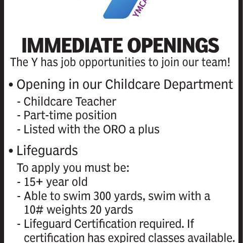 YMCA is Hiring for Multiple Positions!