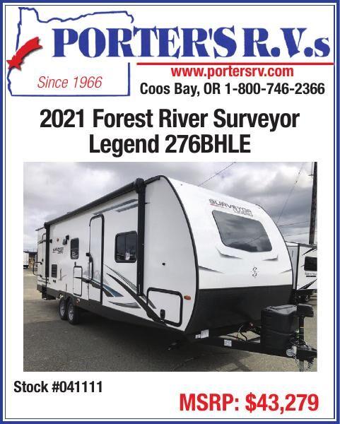 Porter's RV 2021 Forest River Surveyor Legend 276BHLE Stock #041111