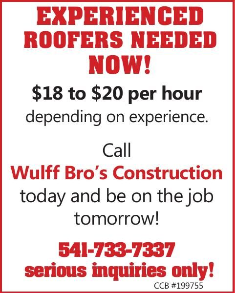EXPERIENCED ROOFERS NEEDED NOW!