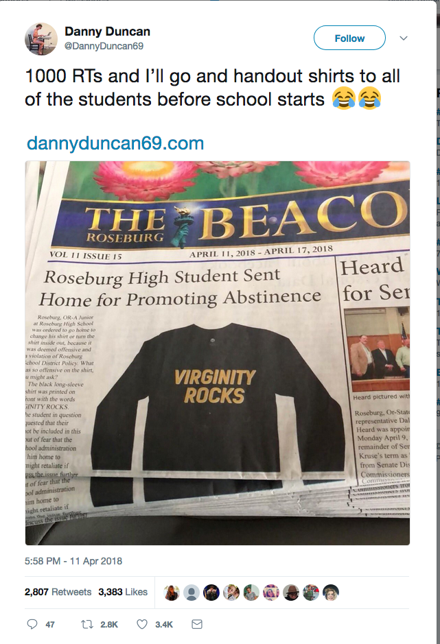 """Danny Duncan and the """"Virginity Rocks"""" T-shirt"""