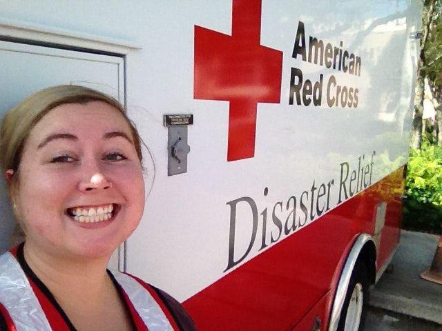 Katelyn Dzialowy by American Red Cross van in Florida