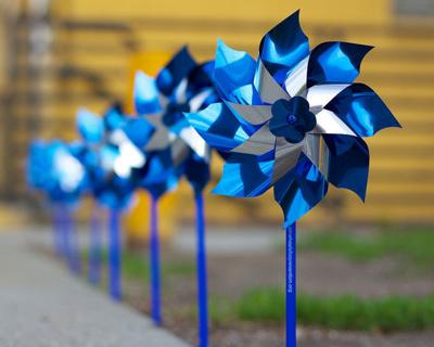 Blue pinwheels represent national Pinwheels for Prevention campaign