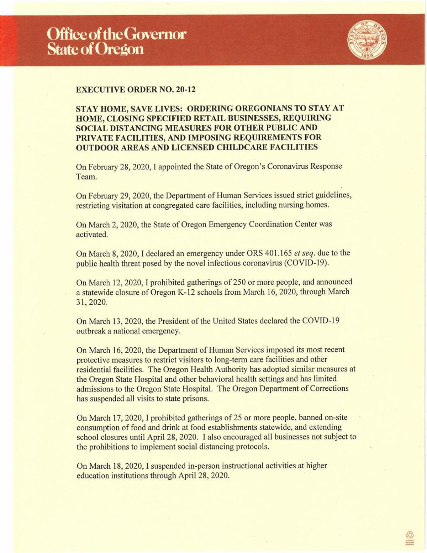 Executive Order 20-12