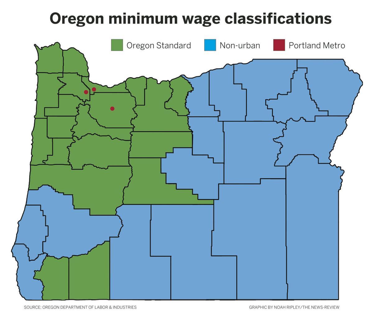 oregon minimum wage map