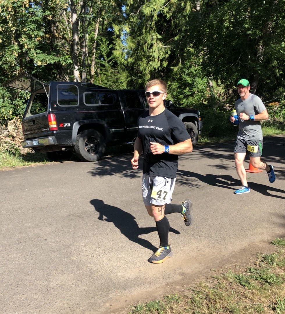 Tristian Brown running in 24-hour marathon race