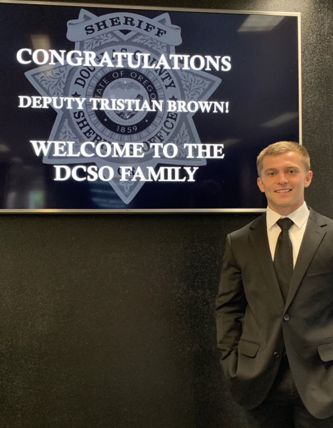 Tristian Brown after being sworn in at DCSO