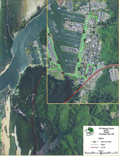 OHVs on Winchester Bay roads map