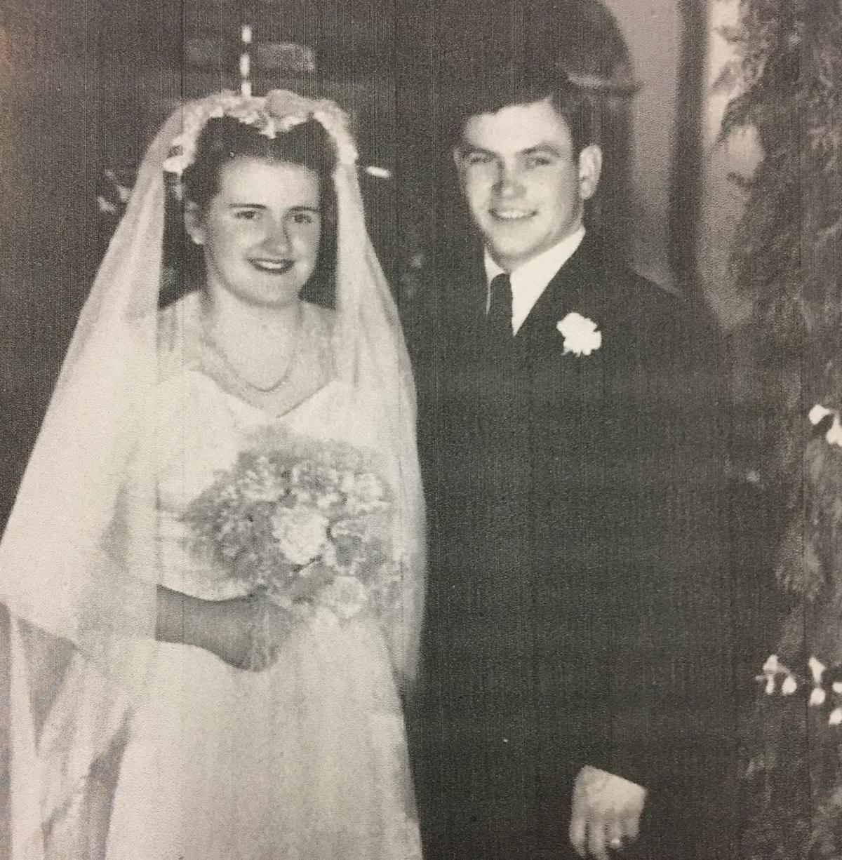 WW-II veteran Paul Betcher wedding photo from 1946