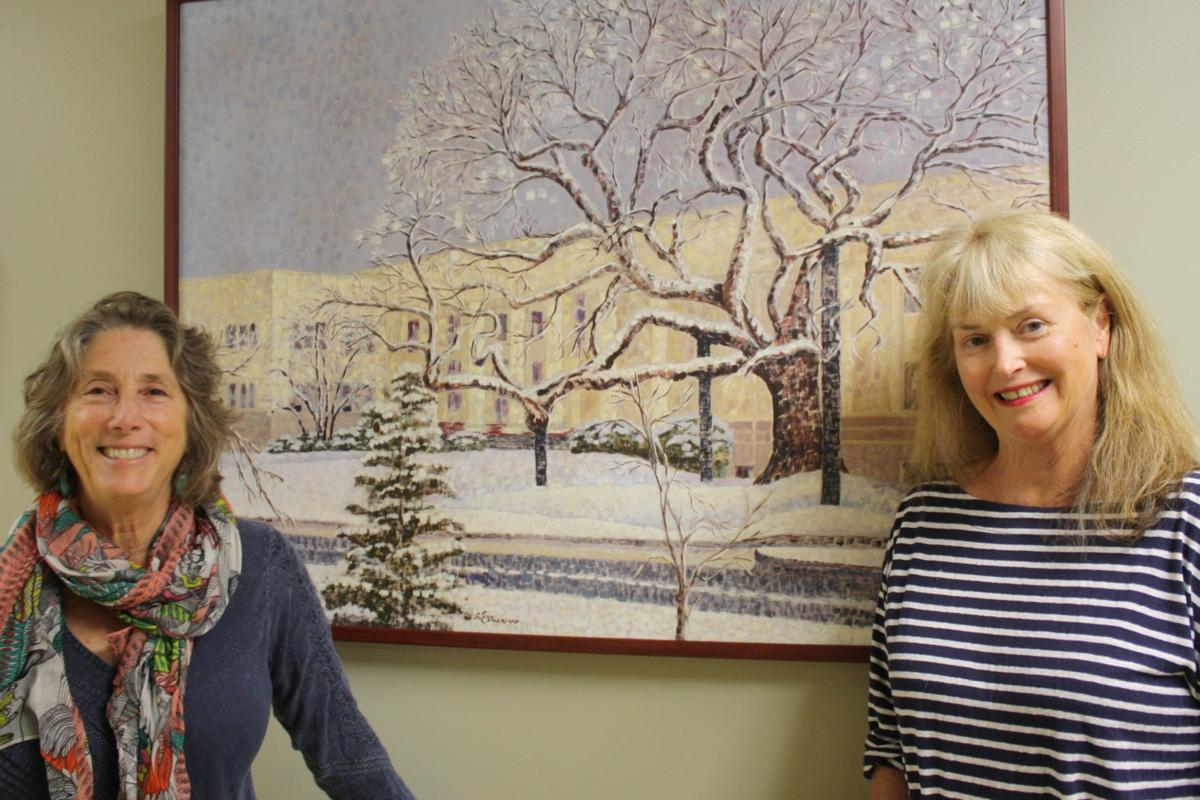 Art curators Marjorie Feldman and Janice Matthews at CHI Mercy Medical Center