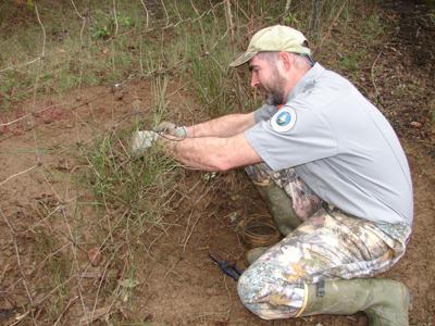 Jim Godfrey sets a snare