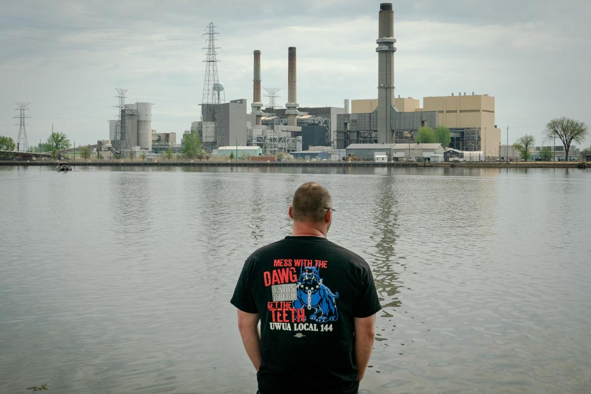 Joe Duvall, local union president at the D.E. Karn generating complex, which is scheduled to go offline in 2023 and is about an hour away from the Assembly Solar Project site, in Essexville, Mich., May 20, 2021. (Erin Schaff/The New York Times)