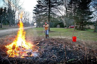 Debris burn pile