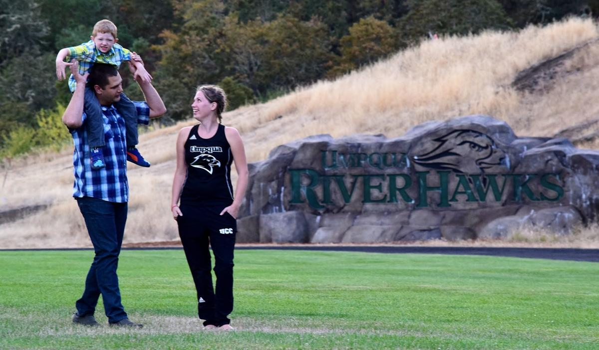 Umpqua Community College cross country runner Melinda Broadsword has gotten plenty of support from her son, Kyle, and her husband, Jayson, as she finishes college and competes in intercollegiate sports at age 33.
