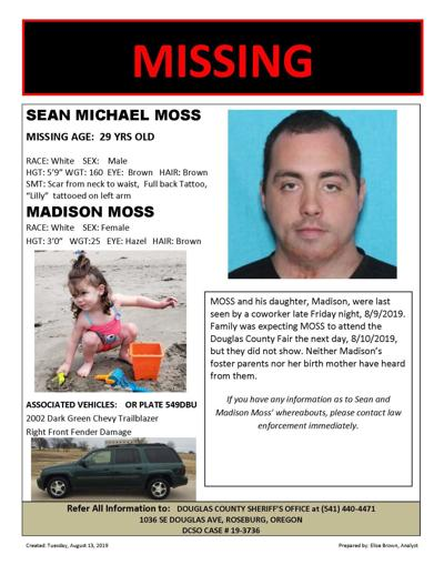Roseburg man and daughter reported missing Monday