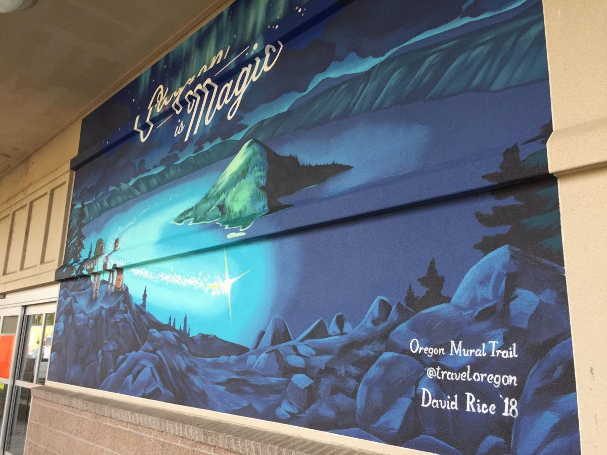 Travel Oregon mural on the Roseburg Public Library building