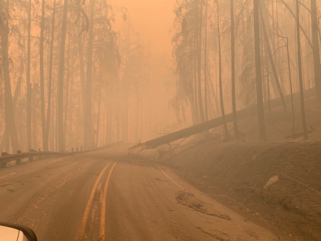 Highway 138 East damaged due to Archie Creek Fire