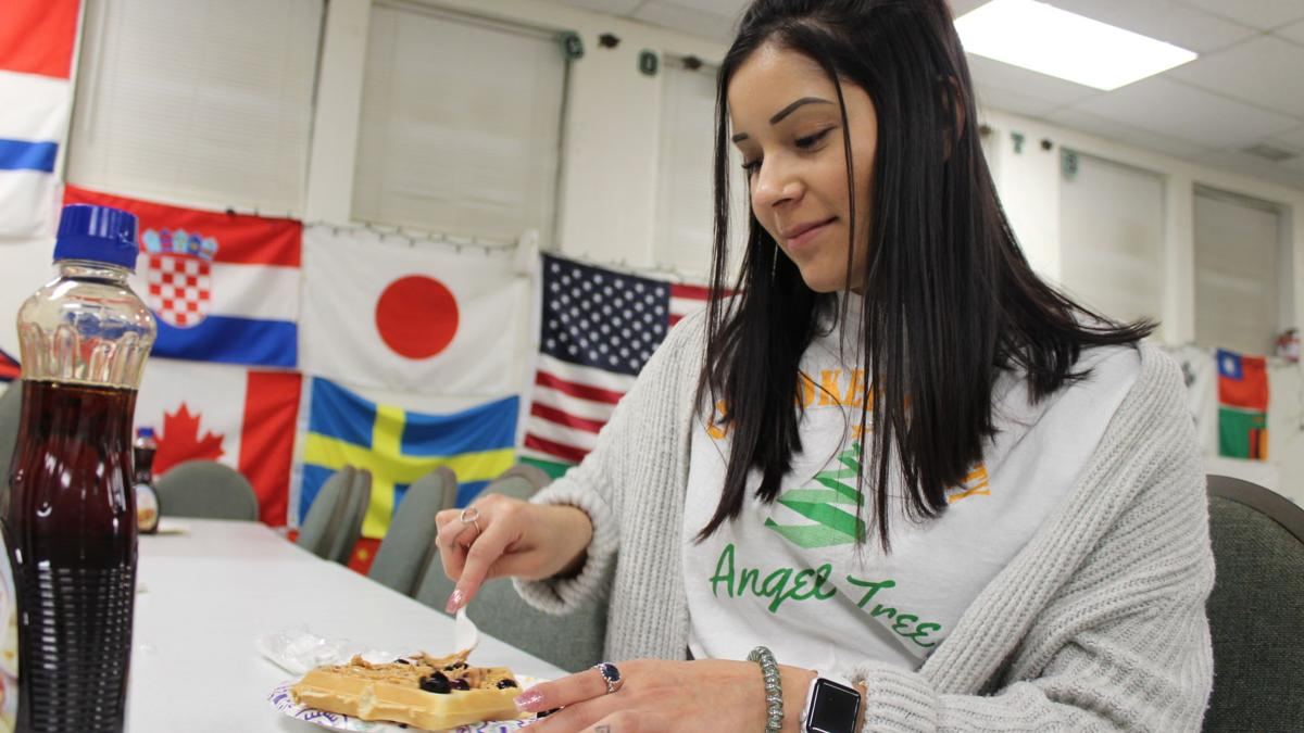 Angel Tree serves waffles for students