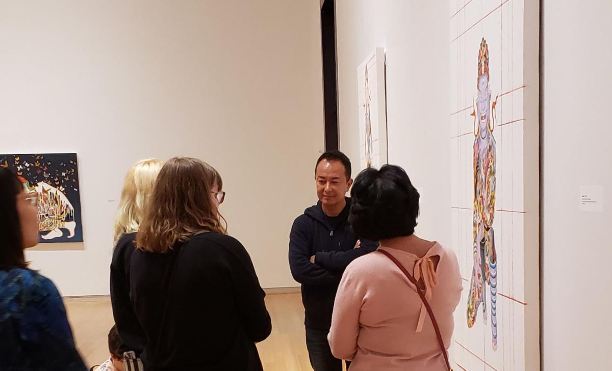 Tsherin Sherpa  talking to Herron students