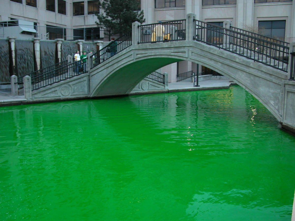 The Downtown Canal Walk on a previous St. Patrick's Day
