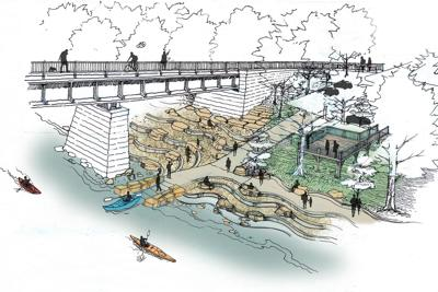 Potential riverfront access envisioned by the Indianapolis Art Center and SWT Design